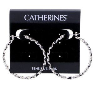 3/$20 Catherines silver and black striped hoops
